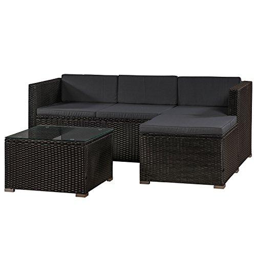 ArtLife Polyrattan Lounge Punta Cana M für 3-4 Personen mit Tisch in schwarz mit Bezügen in Dunkelgrau   Gartenmöbel Sitzgruppe