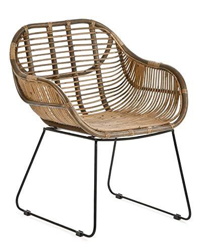 animal-design RATTANSTUHL Rattan-Stühle Korb-Stuhl Korb-Sessel – braun – Retro 50er Lounge Loft Esszimmer Garten Küche Bistro Balkon Terrasse mit Armlehne