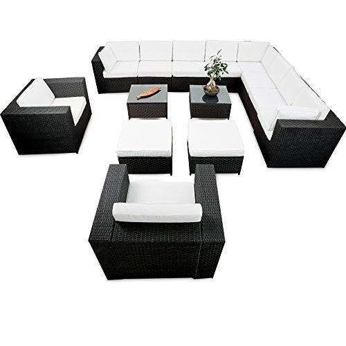 XINRO® erweiterbares 41tlg. XXXL Lounge Set Polyrattan – schwarz – Sitzgruppe Garnitur Gartenmöbel Lounge Möbel Set – inkl. Lounge Ecke + Sessel + Hocker + Tisch + Kissen