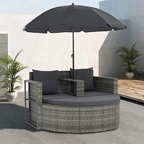 Festnight- Polyrattan Gartensofa 2-Sitzer mit Sonnenschirm und Fu?hocker | Gartenm?Bel Sonneninsel Rattansofa | UV-Best?ndige Sonnenschutz | für Garten oder Terrasse Grau