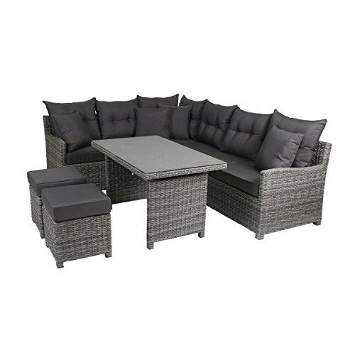 Greemotion Miami Comfort 5-teilig Rattan Lounge-Set, Aluminium, 73 x 192 x 75 cm, grau/anthrazit