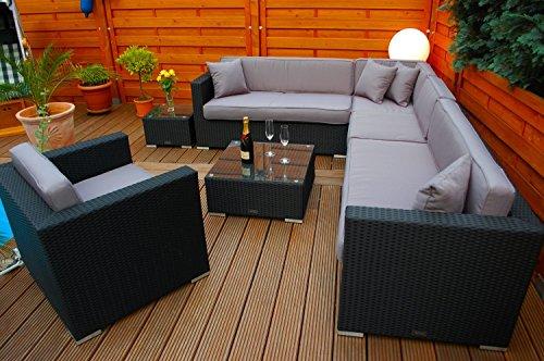 Ragnarök-Möbeldesign PolyRattan Lounge DEUTSCHE Marke – EIGNENE Produktion – 7 Jahre GARANTIE Garten Möbel incl. Glas und Polster (schwarz) Gartenmöbel