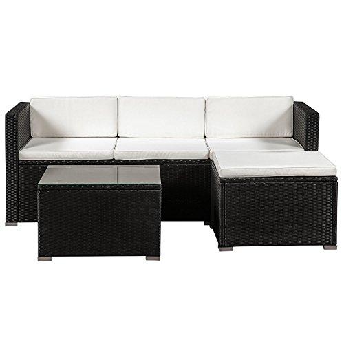 ArtLife Polyrattan Lounge Punta Cana M für 3-4 Personen mit Tisch in schwarz mit Bezügen in Creme