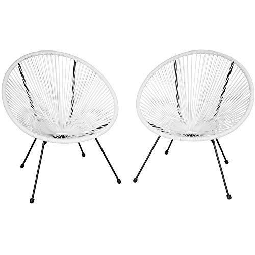 TecTake 800729 2er Set Acapulco Garten Stuhl, Lounge Sessel im Retro Design, Indoor und Outdoor, pflegeleicht, Relaxsessel zum gemütlichen Sitzen – Diverse Farben – (Weiß   Nr. 403303)