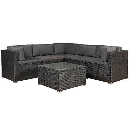 ArtLife Polyrattan Lounge Nassau schwarz | Gartenmöbel-Set mit Ecksofa & Tisch | dunkelgraue Bezüge | Sitzgruppe für Terrasse & Wintergarten