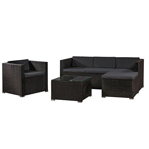 ArtLife Polyrattan Lounge Punta Cana L schwarz mit Bezügen in Dunkelgrau   Gartenmöbel-Set mit Sofa, Hocker und Tisch für 4-5 Personen