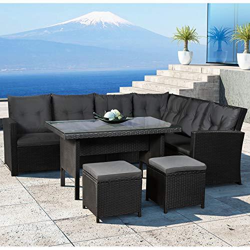 ArtLife Polyrattan Sitzgruppe Lounge Santa Catalina schwarz – Gartenmöbel-Set mit Eck-Sofa, 2 & Tisch – bis 6 Personen – wetterfest & stabil