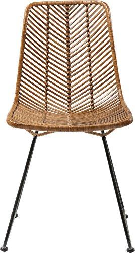 Stuhl Ko Lanta, moderner, bequemer Esszimmerstuhl im Rattan Design, braun (H/B/T) 85,7×44,5×54,6cm
