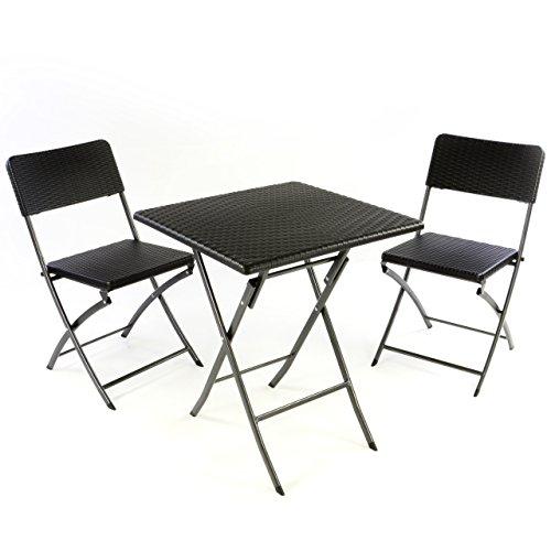 Nexos 3er Set Garnitur Tischset mit 2 Stühlen 1 Tisch Balkonset in Rattan-Optik Schwarz Bistroset klappbar Garten Terrasse Balkon Kunststoff Metallgestell Robust Wetterfest Stabil Pflegeleicht
