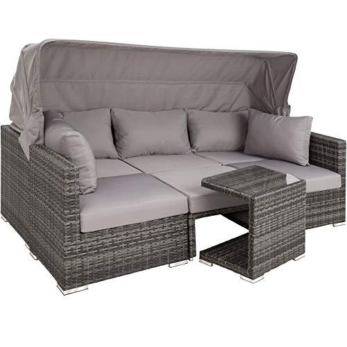 TecTake 800771 Aluminium Poly Rattan Lounge Set, 16-teilig, wetterfest, Garten Sofa mit Sonnendach, Outdoor Sitzgruppe inkl. Kissen und Beistelltisch – Diverse Farben – (Grau | Nr. 403237)