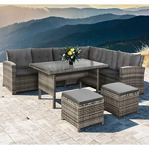 ArtLife Polyrattan Sitzgruppe Lounge Santa Catalina beige-grau – Gartenmöbel-Set mit Eck-Sofa, 2 & Tisch – bis 6 Personen – wetterfest & stabil