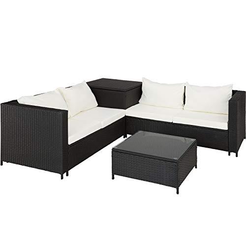 TecTake 800678 Polyrattan Sitzgruppe für 4 Personen, frei zu gruppierende Elemente, inkl. Aufbewahrungsbox für Polster, Tisch mit Glasplatte – Diverse Farben – (Schwarz   Nr. 403071)