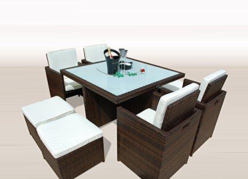 Ragnarök-Möbeldesign PolyRattan – DEUTSCHE Marke – EIGNENE Produktion – 8 Jahre GARANTIE auf UV-Beständigkeit Gartenmöbel Essgruppe Tisch + 4 Stühle & 4 Hocker 12 Polster Braun
