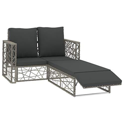 vidaXL Gartenmöbel 2-TLG. mit Auflagen Sofa Lounge Sitzgruppe Sitzgarnitur Gartengarnitur Gartenset Gartensofa Fußhocker Poly Rattan Grau