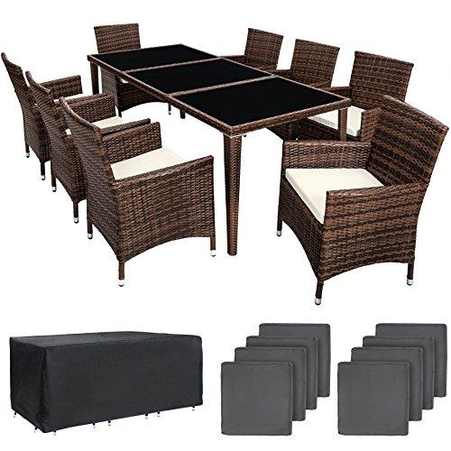 TecTake 800104 Aluminium Poly Rattan Essgruppe, 8 Stühle + 1 Esstisch mit Glasplatten, inkl. 2 Bezugssets und Schutzhülle – Diverse Farben (Braun Schwarz   Nr. 401162)