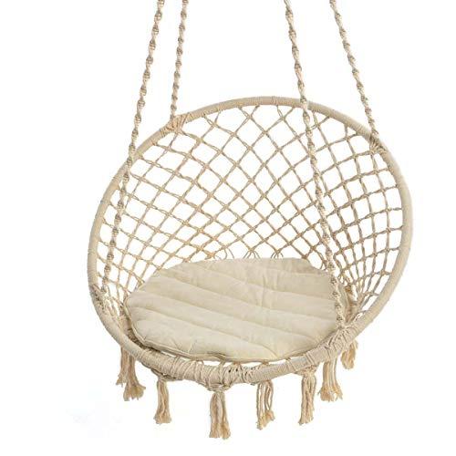 Pureday Hängesessel Nizza – mit rundem Sitzkissen – Outdoorgeeignet – Sitzfläche ca. Ø 55 cm – Belastbarkeit max. 100 kg – Beige