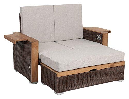 greemotion Rattan-Lounge Bahia Lanzarote, Sofa & Bett aus Polyrattan & Akazienholz, 2er Garten-Sofa mit Stahl-Gestell, Daybed zweigeteilt, braun