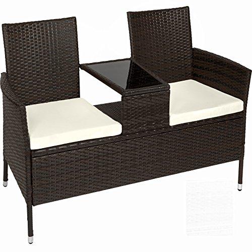 TecTake Sitzbank mit Tisch Poly Rattan Gartenbank Gartensofa inkl. Sitzkissen – Diverse Farben – (Schwarz-Braun | Nr. 401548)