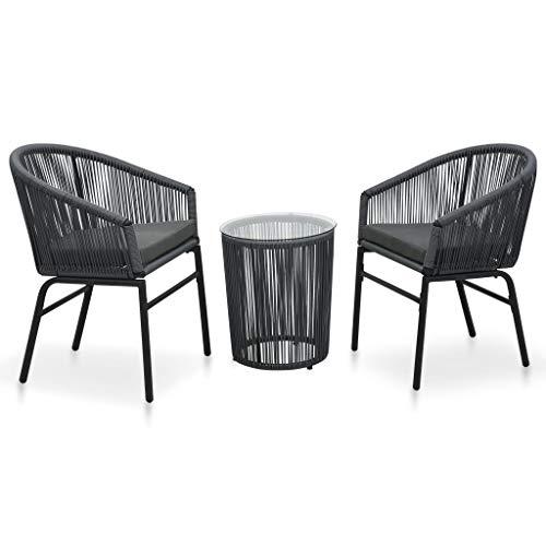 vidaXL Bistroset 3-TLG. mit Kissen Balkonset Gartenmöbel Sitzgruppe Balkonmöbel Garnitur Gartenset Beistelltisch 2 Stühle PVC Rattan Anthrazit