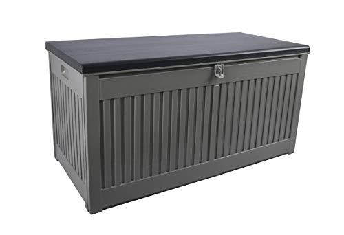 Gardtech Auflagenbox/Kissenbox in Grau/Schwarz mit 270 Liter Nutzvolumen- robust abwaschbar und einfach im Aufbau Aufbewahrungsbox für Terrassenmöbelkissen im Freien bis 150 KG (2 Personen)