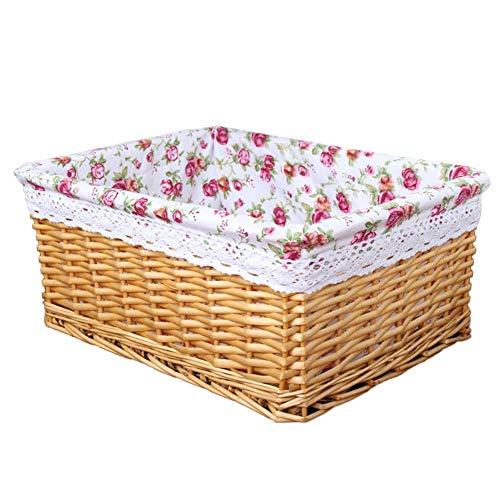 Demarkt Weidenkorb Rattan Picknickorb Geflochten Erntekorb mit Stoffbezug Einkaufskörbe, Weide/Stroh