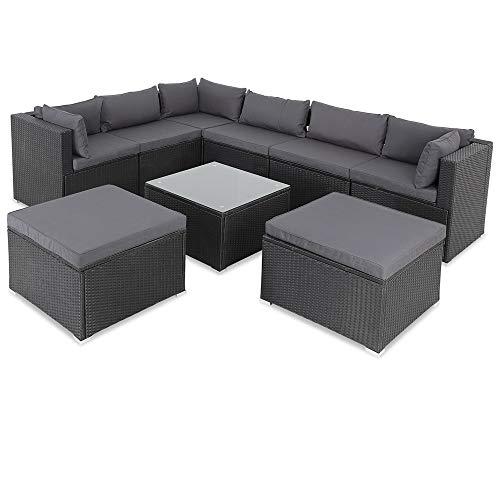 Casaria Poly Rattan XXL Lounge Set inkl. 7cm Auflagen und 15cm dicken Kissen Tisch mit Glasplatte frei stellbare Elemente Gartenmöbel Sitzgruppe Schwarz Grau