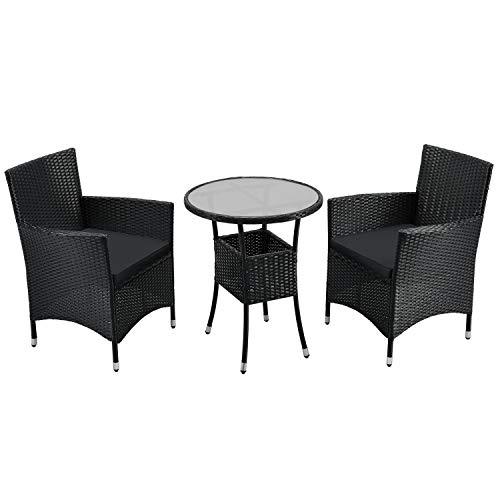 ArtLife Polyrattan Balkon Set Bayamo 2 Personen – Tisch mit Glasplatte & 2 Stühlen – Wetterfeste Balkonmöbel – Auflagen waschbar – schwarz – grau
