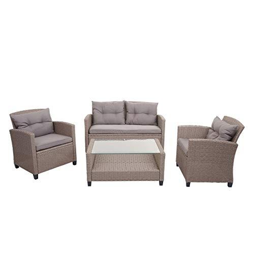 Mendler XXL Poly-Rattan Garnitur HWC-F10, Balkon-/Garten-/Lounge-Set Sitzgruppe, Sofa Sessel mit Kissen Spun Poly ~ grau-braun
