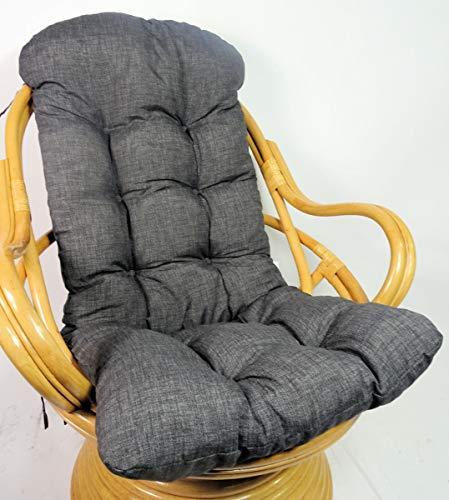 Rattani Auflage/Polster für Schaukelstuhl, Drehsessel, Ersatzpolster Gr. 135 x 60 x 15 cm, Nuevo Loneta anthazit – Made in EU