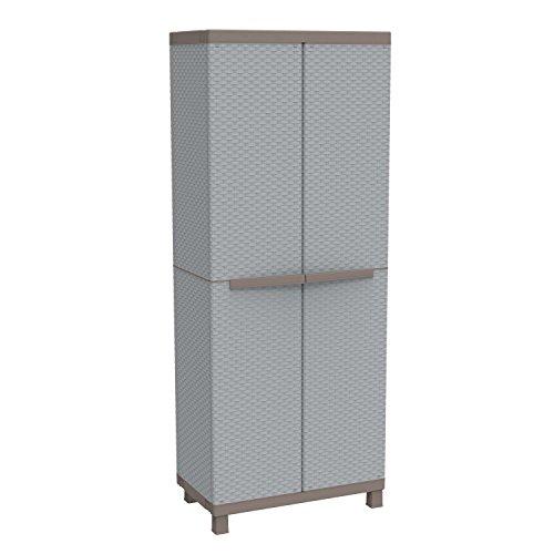 Terry, C 3680, Besenschrank mit 2 Türen in Rattan-Optik, vertikaler Trennwand und 3 Einlegeböden, für innen und außen. Farbe, Material: Kunststoff, Abmessungen: 68x39x170 cm, Grau/Taubengrau