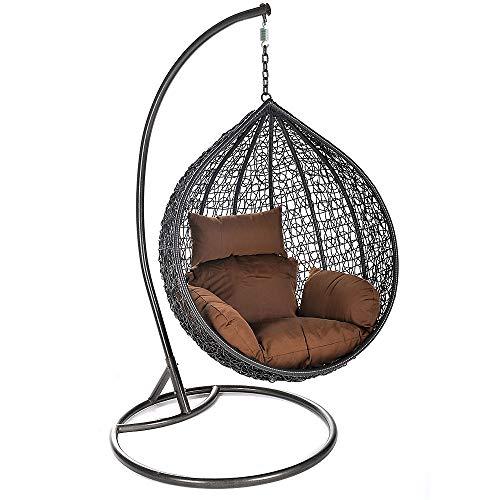 Home Deluxe – Polyrattan Hängesessel – Cielo – inkl. Gestell, Sitz- und Rückenkissen