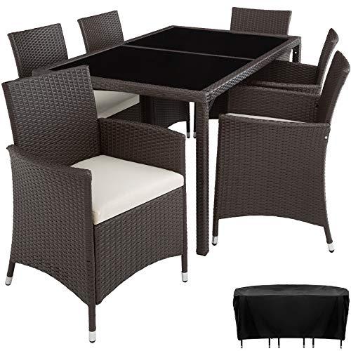 TecTake 800325 – Poly Rattan Sitzgruppe, 6 Stühle mit Sitzkissen, 1 Tisch mit 2 Glasplatten, inkl. Schutzhülle – Diverse Farben – (Antik   Nr. 402060)