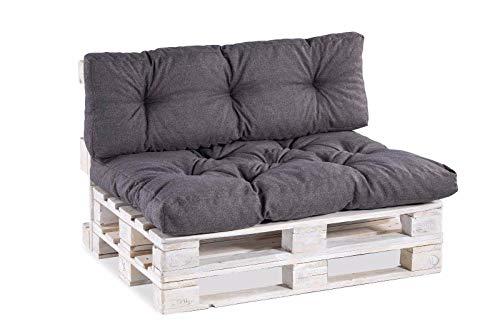 Palettenkissen Palettenauflagen Sitzkissen Rückenlehne Gesteppt PPI (Set (Sitzkissen 120×80 +Rückenlehne 120×40), Anthrazit)