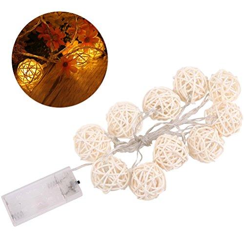 LEDMOMO Rattan Ball Lichterketten, 1,5 M 10 zählt Rattan Bälle Batteriebetriebene Warmweißes Licht für Terrasse, Hochzeit, Garten und Party