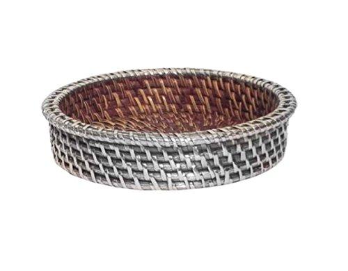 Leer Taschen aus Rattan natur beschichtet in Silber