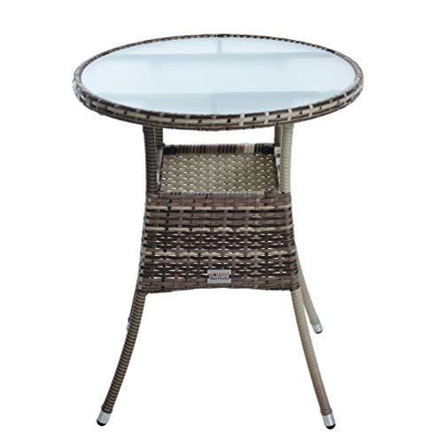 ESTEXO Polyrattan Beistelltisch Gartentisch Rattan Tisch Balkontisch Gartenmöbel Rund Kaffeetisch Teetisch Couchtisch Rattantisch (Beige-Braun)