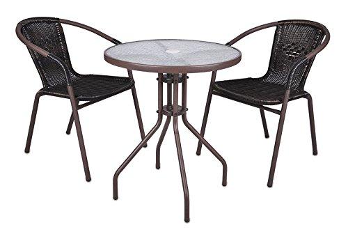 Nexos Bistroset Balkonset Rattanset – Sitzgarnitur aus Glastisch & Bistrostuhl – Stahlgestell Poly-Rattan Glasplatte – robust stapelbar – dunkel-braun