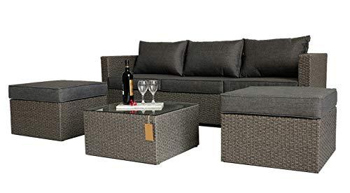 KLEE Polyrattan Lounge Set Stuttgart I für 5 Personen, 4er-Garnitur Gartenmöbel Set inkl. 1 Dreisitzer-Sofa, 2 Fußhocker, 1 Couchtisch mit Glasplatte, Aluminiumrahmen, Grau Fertigset, Fully Assembled