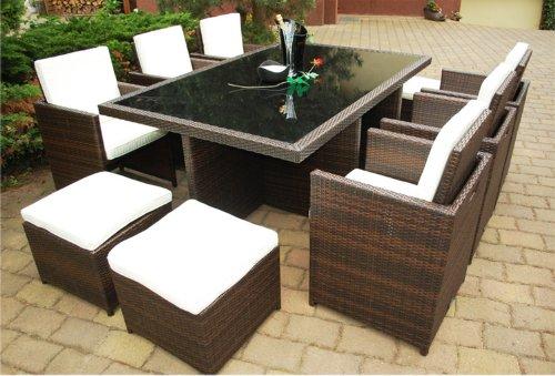Ragnarök-Möbeldesign DEUTSCHE Marke – EIGNENE Produktion – 8 Jahre GARANTIE Garten Möbel Glas Polster PolyRattan Set Gartenmöbel Tisch Stuhl Hocker BRAUN