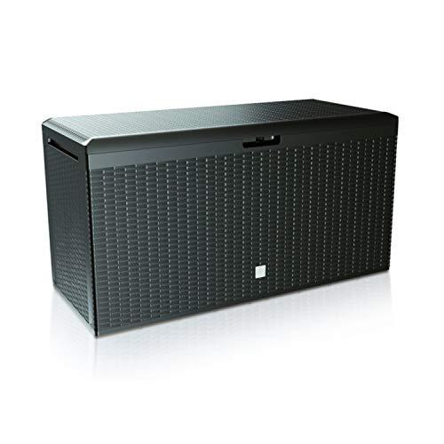 Prosperplast Boxe Rato Plus Gartenbox Aufbewarung Aufbewahrungsbox Rattan 290L Tarrase (Anthrazit)