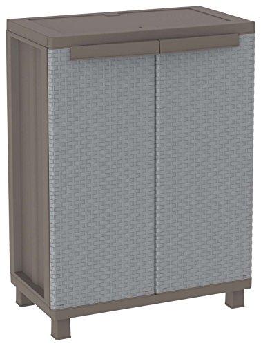 Terry, JRattan 68, Schrank mit 2 Türen in Rattan-Optik, 1 bewegbarer Einlegeboden, für den Innen-und Außenbereich. Farbe: Grau/Taubengrau, Material: Kunststoff, Größe: 68×37,5×91,5 cm