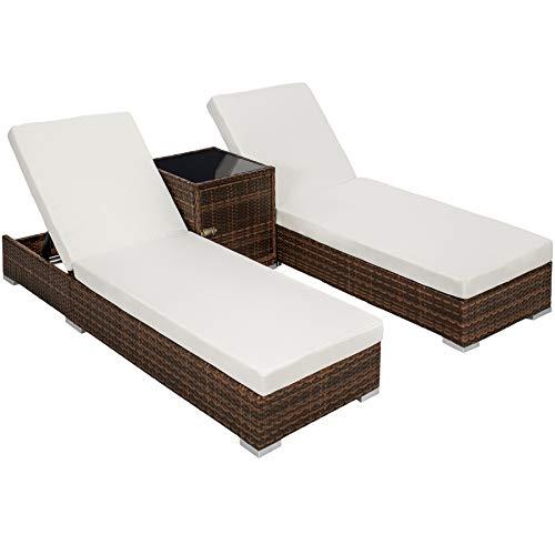 TecTake 2X Aluminium Polyrattan Sonnenliege + Tisch Gartenmöbel Set – inkl. 2 Bezugsets + Schutzhülle, Edelstahlschrauben – Diverse Farben – (Schwarz-Braun (Nr. 401499))