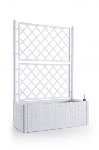 XL Rankgitter, Spalier mit Pflanzkasten in moderner Rattan-Optik aus robustem Kunststoff in Weiß. Maße BxTxH in cm: 100 x 43 x 142 cm. Topp für Garten, Terrasse und Balkon!