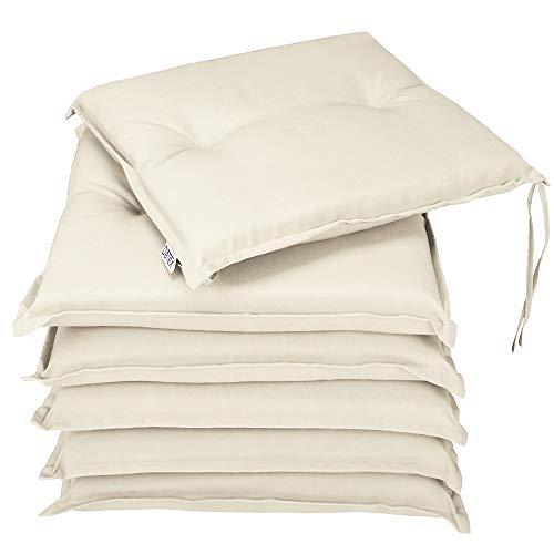 Detex® Stuhlauflagen Boston 6er Set Wasserabweisend Kissen Sitzkissen Stuhlkissen Auflage Sitzauflage Creme