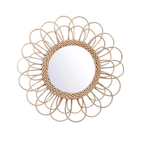 Lanbowo Hängespiegel Kosmetikspiegel Rattan Sunflower Circular Wandspiegel Dekor Boho Wicker Dressing