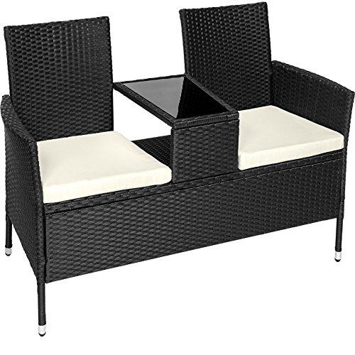 TecTake Sitzbank mit Tisch Poly Rattan Gartenbank Gartensofa inkl. Sitzkissen – Diverse Farben – (Schwarz | Nr. 401547)