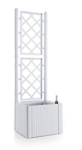 Rankgitter, Spalier mit Pflanzkasten in Rattan-Design aus robustem Kunststoff in Weiß. Maße BxTxH in cm: 43 x 43 x 142 cm. Topp für Garten, Terrasse und Balkon!