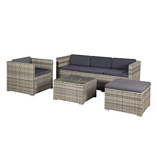 ArtLife Polyrattan Lounge Punta Cana L grau-meliert mit Bezügen in Dunkelgrau   Sitzgruppe mit Tisch für 4-5 Personen   Gartenmöbel – Set