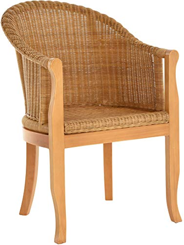 Rattan-Sessel mit Holzbeinen, Sessel aus echtem Rattan – Rattanstuhl Club (Honig – Dunkel)