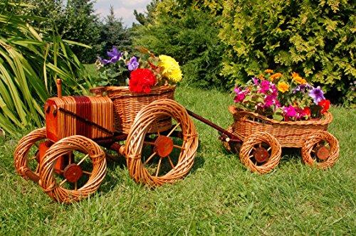 Traktor+Hänger aus Korbgeflecht, Gesamtlänge ca. 120 cm, Rattan, Weidenkörbe, bepflanzen möglich, Pflanzkorb, Blumentopf, Blumentopf, Pflanzkübel, Pflanztrog, Pflanzgefäß, Pflanzschale, Pflanzkasten, Übertopf, Pflanzkarre, Blumenkasten,